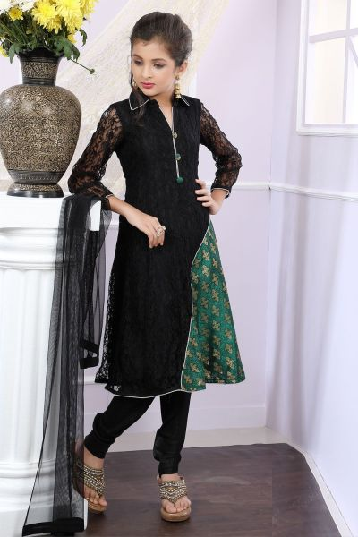 Black, Green Net, Brocade Girls Anarkali Dress (NFG-175)