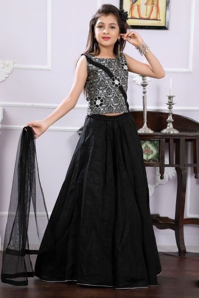 Black, Grey Brocade Girls Lehenga Choli (NFG-156)
