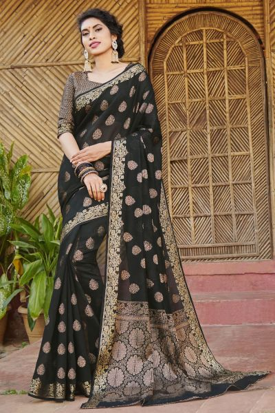 Black Handloom Silk Saree (NWSA-4983)