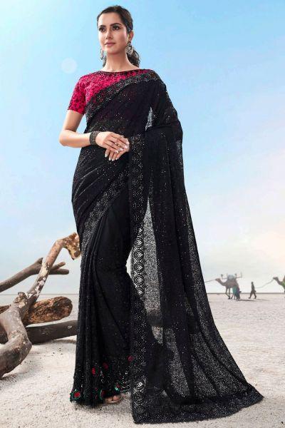 Black Imported Saree (NWSA-5039)