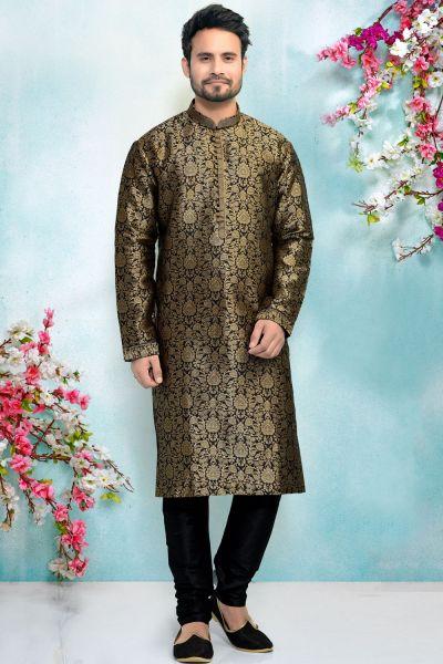 Black Jaquard Silk Brocade Kurta for Men (NMK-4910)