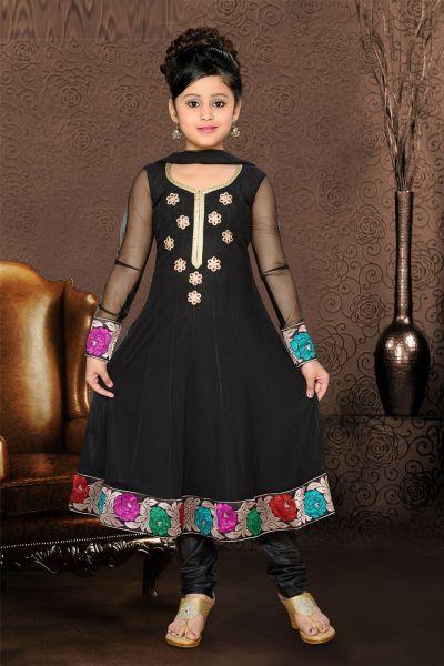 Black Net Girls Anarkali Salwar Kameez (NFG-077)