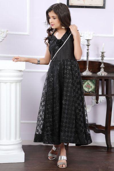 Black Net Girls Gown (NFG-189)