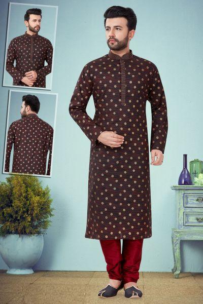 Black Printed Cotton Silk Kurta Pajama (NMK-4787)