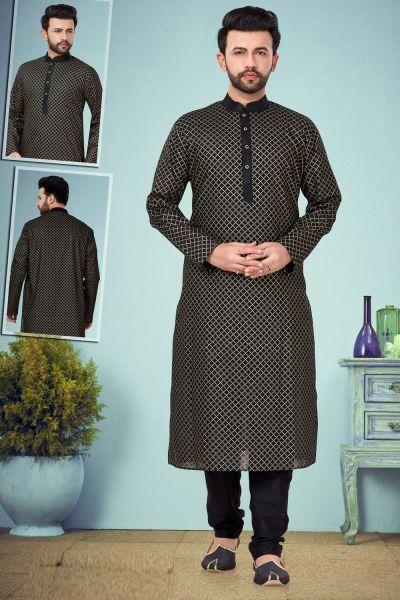 Black Printed Cotton Silk Kurta Pajama (NMK-4830)