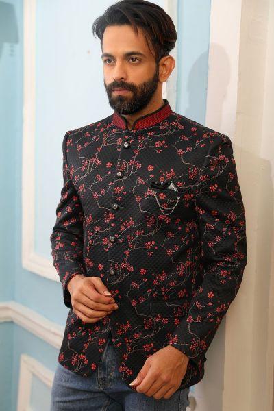 Black Printed Silk Brocade Jodhpuri Jacket (NMK-4231)
