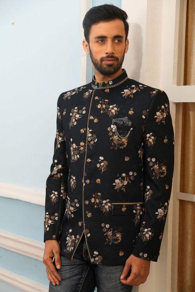 Black Printed Silk Brocade Jodhpuri Jacket (NMK-4234)