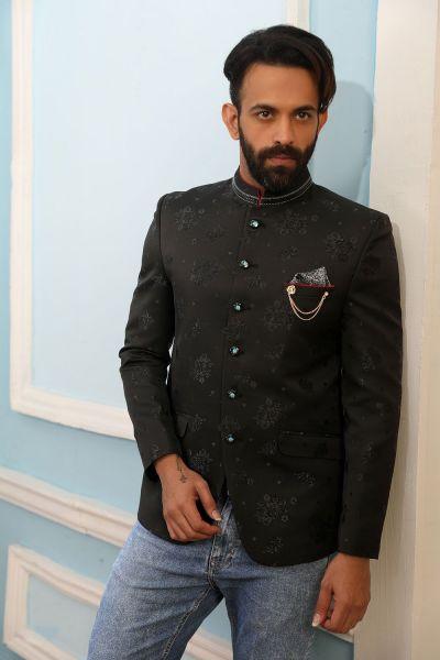 Black Printed Silk Brocade Jodhpuri Jacket (NMK-4235)