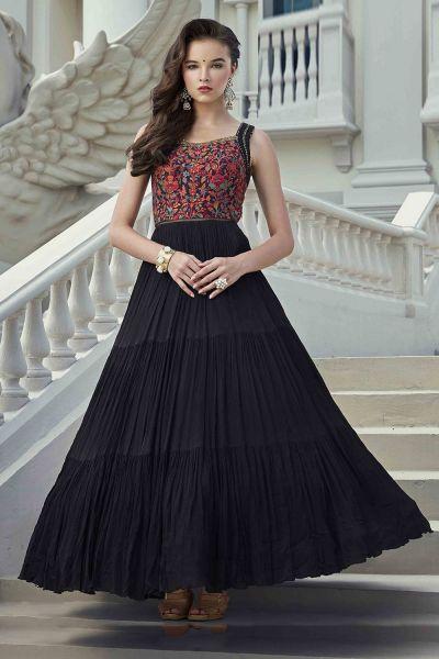 Black Viscose Georgette Salwar Suit (NWS-6017)