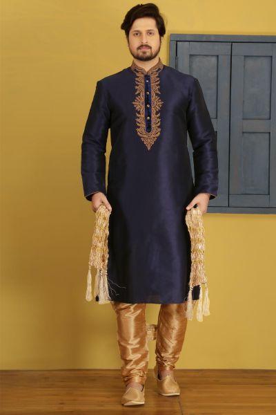 Blue Art Banarasi Silk Casual Kurta Pajama (NMK-3748)