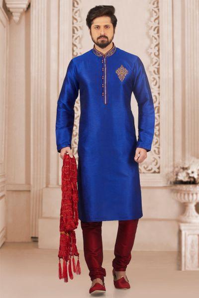 Blue Art Banarasi Silk Casual Kurta Pajama (NMK-3979)
