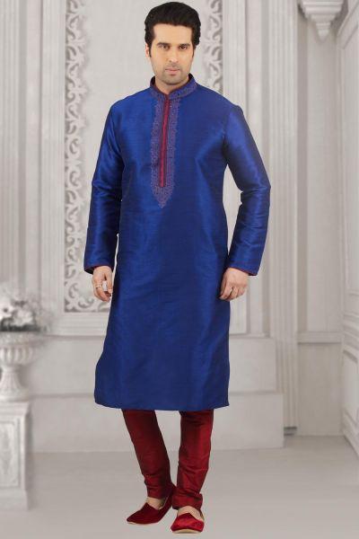 Blue Art Banarasi Silk Casual Kurtasfor Men (NMK-4019)