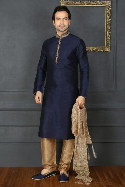 Blue Art Banarasi Silk Designer Kurtas for Men (NMK-3675)