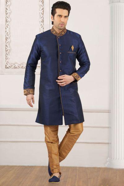 Blue Art Banarasi Silk Embroidered Indo Western (NMK-4049)