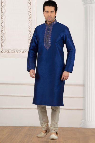 Blue Art Banarasi Silk Embroidered Kurta Pajama (NMK-4026)