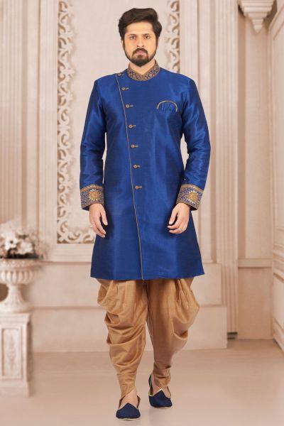 Blue Art Banarasi Silk Indo Western Kurta (NMK-4047)