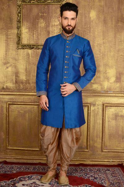 Blue Art Banarasi Silk Indo western (NMK-3597)