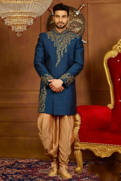 Blue Art Banarasi Silk Indo Western (NMK-3921)