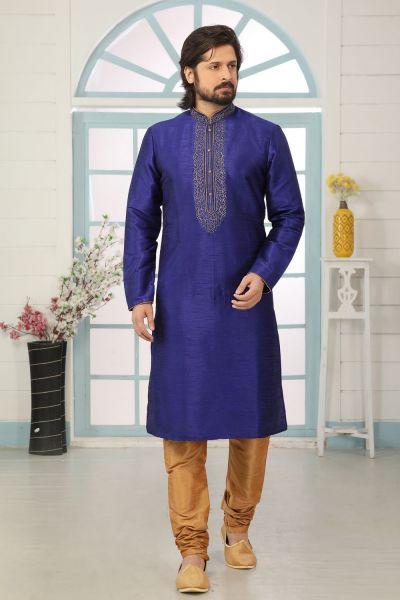 Blue Art Banarasi Silk Kurta Pajama for Men (NMK-5066)