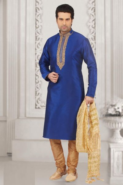 Blue Art Banarasi Silk Kurta Pajama for Mens (NMK-4007)