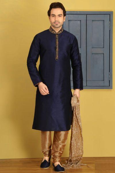 Blue Art Banarasi Silk Kurtas for Men (NMK-3686)