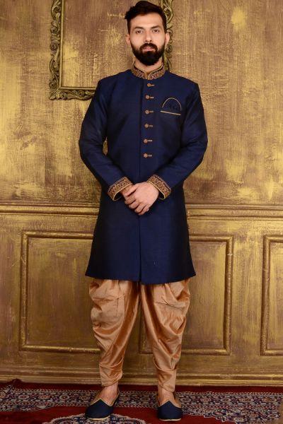 Blue Art Banarasi Silk Mens Indo western (NMK-3600)