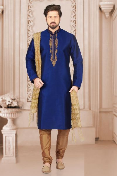 Blue Art Banarasi Silk Mens Kurta Pajama (NMK-3991)