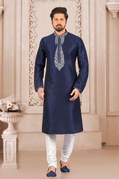 Blue Art Banarasi Silk Regular Kurta Pajama (NMK-4014)