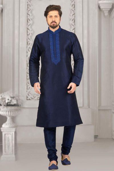 Blue Art Banarasi Silk Regular Mens Kurta (NMK-4018)