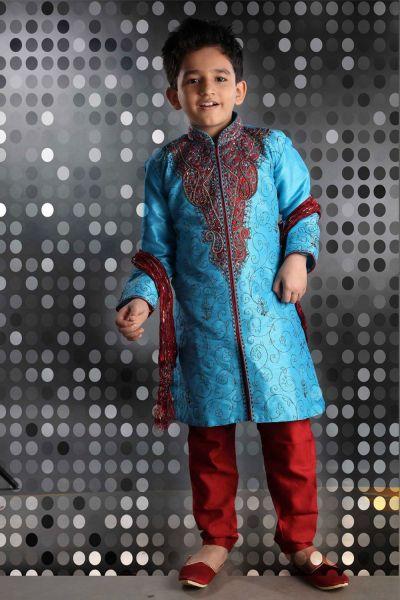 Blue Art Dupion Kids Kurta Pajama (NKK-268)