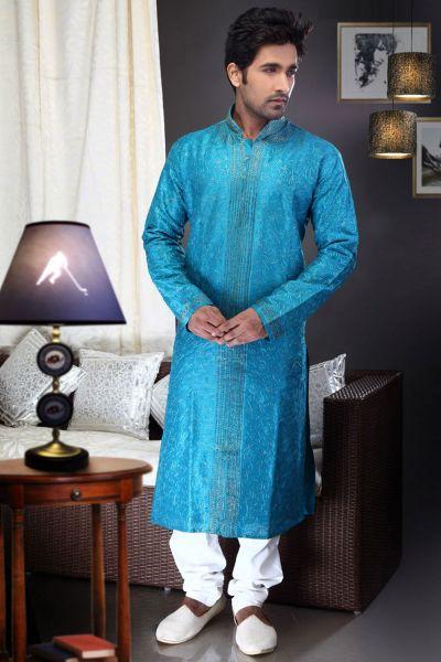 Blue Art Dupion Kurta Pajama for Men (NMK-1468)
