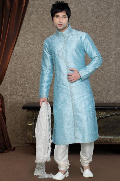 Blue Art Dupion Kurta Pajama for Mens (NMK-1112)