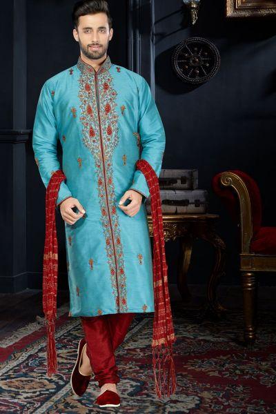 Blue Art Dupion Kurta Pajama (NMK-3407)