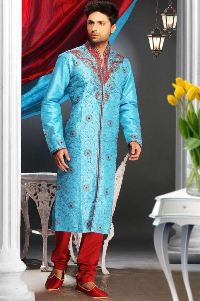 Blue Art Dupion Mens Kurta Pajama (NMK-1578)