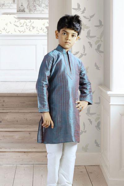 Blue Art Dupion Readymade Kurta Pajama (NKK-138)