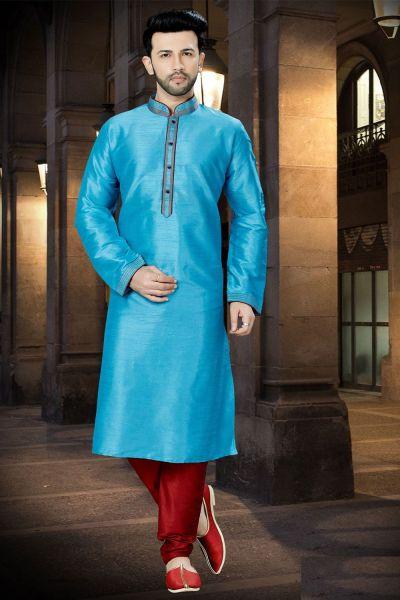 Blue Art Dupion Regular Kurta Pajama (NMK-3766)