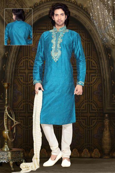Blue Art Silk Designer Kurta Pajama (NMK-2298)