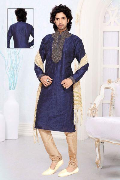 Blue Art Silk Designer Kurta Pajama (NMK-2300)