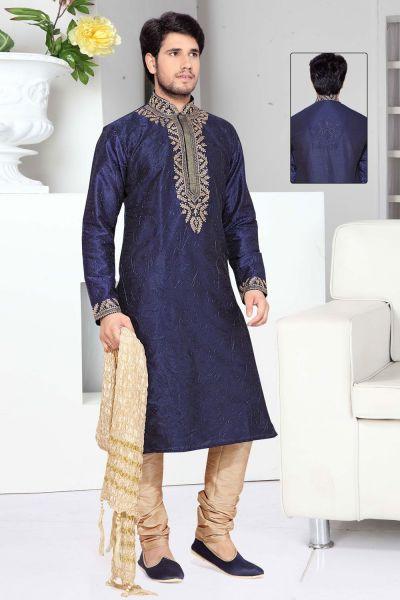 Blue Art Silk Designer Kurta Pajama (NMK-2303)