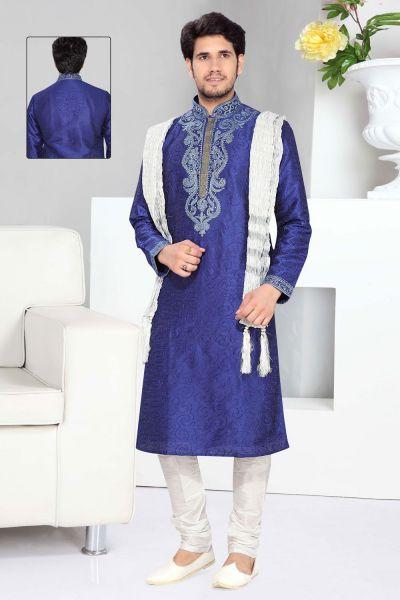 Blue Art Silk Designer Kurta Pajama (NMK-2306)