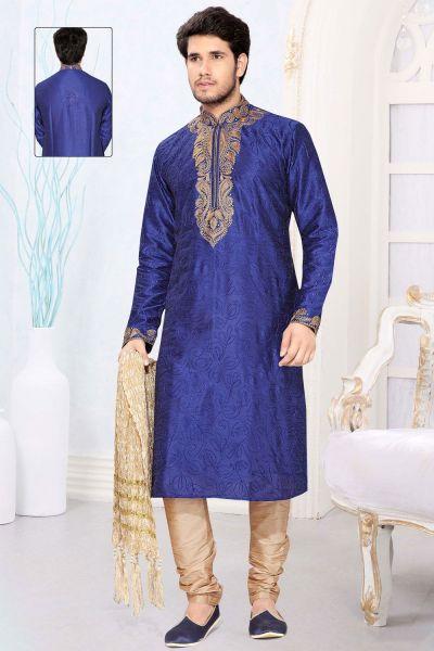Blue Art Silk Designer Kurta Pajama (NMK-2325)