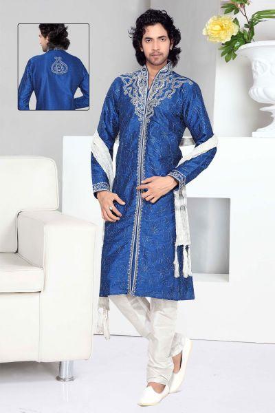 Blue Art Silk Designer Kurta Pajama (NMK-2334)