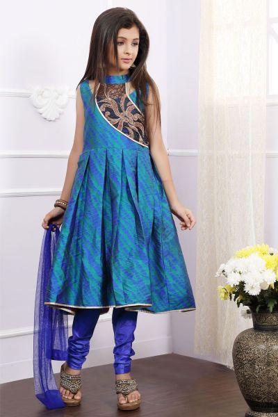 Blue Art Silk Girls Anarkali Dress (NFG-169)