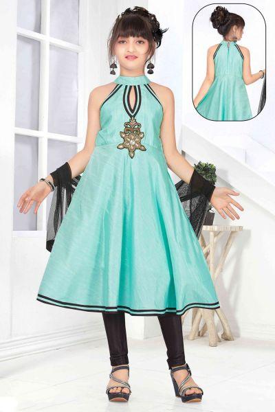 Blue Art Silk Girls Salwar Kameez (NFG-138)