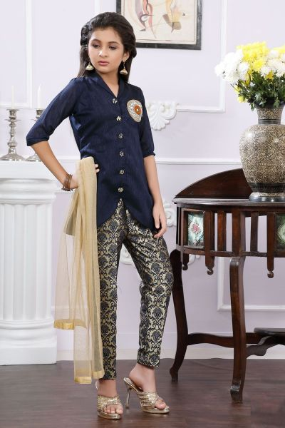Blue Art Silk Girls Salwar Suit with Pant (NFG-179)
