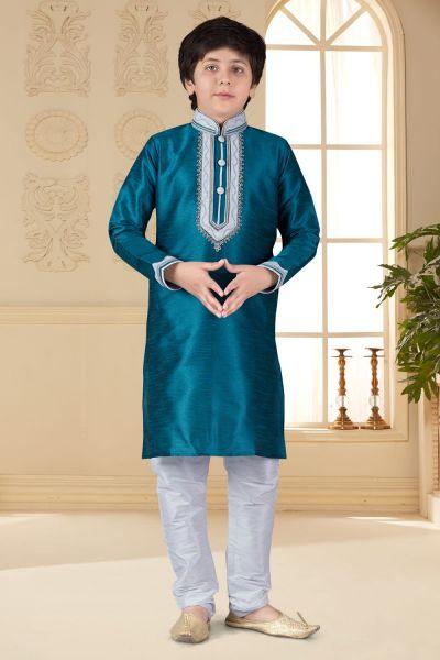Blue Art Silk Kids Kurta Pajama (NKK-657)