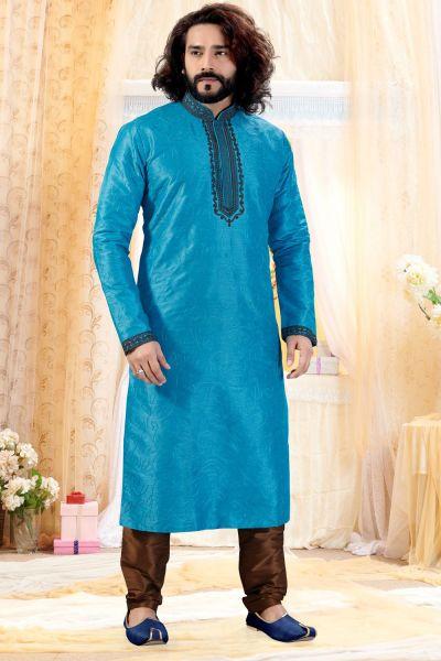 Blue Art Silk Kurta Pajama (NMK-4248)