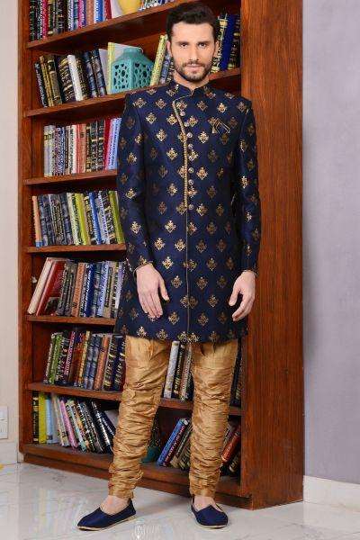 Blue Banarasi Silk Brocade Indo western for Men (NMK-3519)