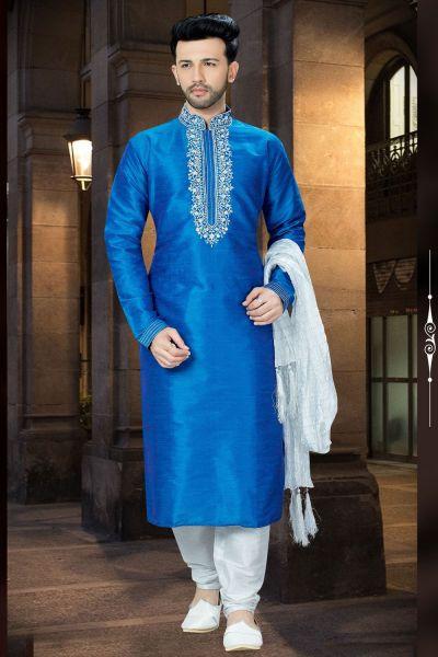 Blue Banglori Silk Designer Kurta Pajama (NMK-3749)
