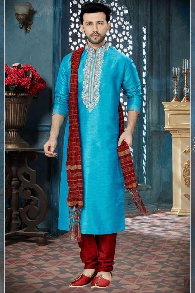 Blue Banglori Silk Designer Kurta Pajama (NMK-3826)
